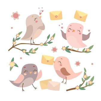 Conjunto de pássaros nos galhos
