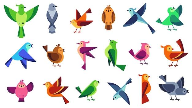 Conjunto de pássaros planos