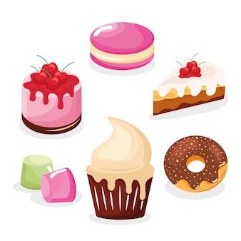 Conjunto de pastéis doces