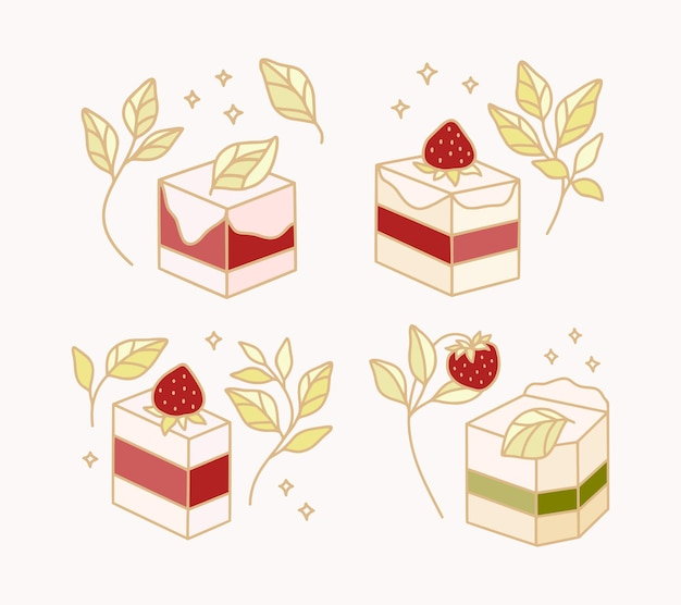 Conjunto de pastelaria colorida, bolo, elementos de padaria com ramo de morango e folha para clipart e design de logotipo