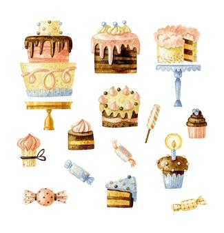 Conjunto de pastelaria desenhada à mão com elementos de pastelaria e sobremesa