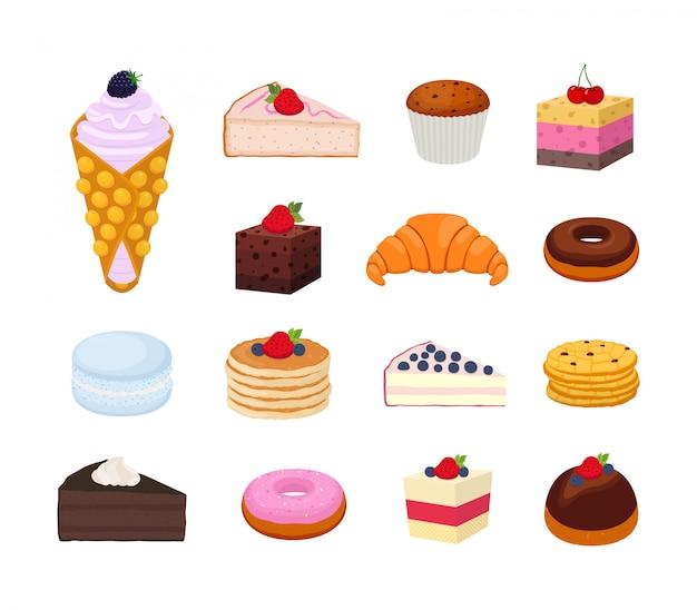 Conjunto de pastelaria doce, coleção de saboroso bolo de queijo, croissant, torta