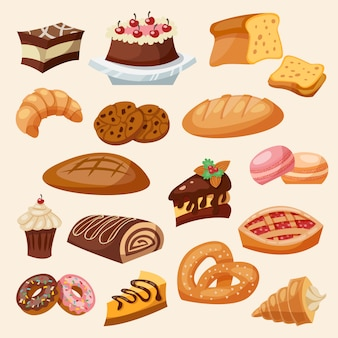 Conjunto de pastelaria plana ícone