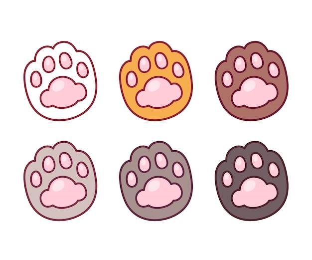Conjunto de pata de gato dos desenhos animados