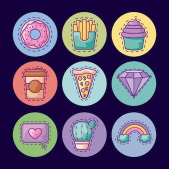 Conjunto de patches com comida deliciosa e ícones