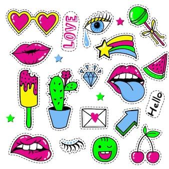 Conjunto de patches da moda, emblemas fofos em tons pastel e ícones divertidos no conceito retro dos anos 90