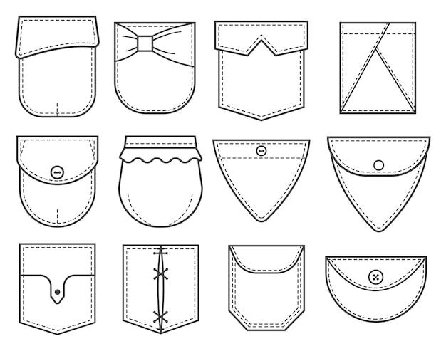 Conjunto de patches de bolso. elementos para roupas, vestidos e camisas uniformes ou de estilo casual.