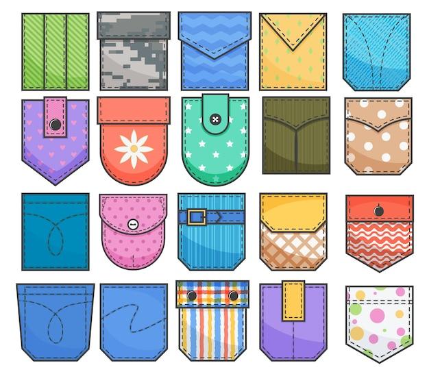 Conjunto de patches de bolso. elementos para uniformes ou roupas de estilo casual, vestidos e camisas.