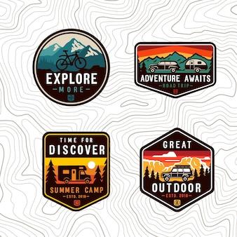 Conjunto de patches de cores de viagens de vetor.