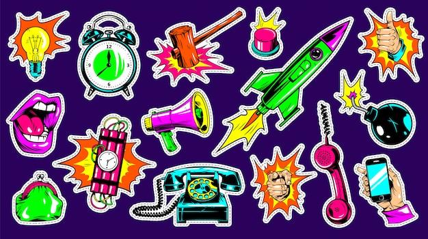Conjunto de patches de moda brilhante em quadrinhos