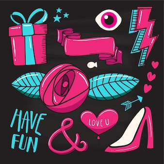 Conjunto de patches de moda, emblemas coloridos bonitos, divertidos ícones dos desenhos animados
