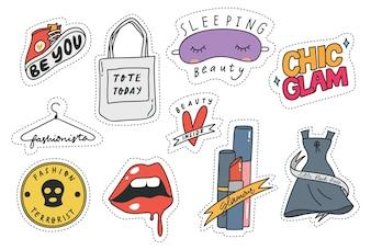 Conjunto de patches de moda