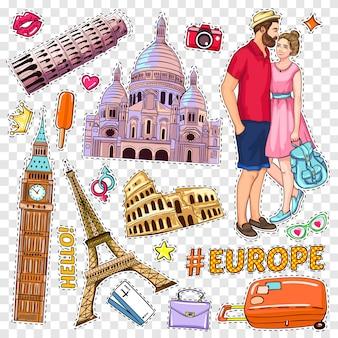 Conjunto de patches de pop art de viagens
