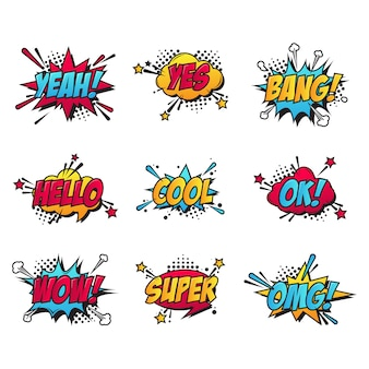 Conjunto de patches de texto em quadrinhos de desenhos animados