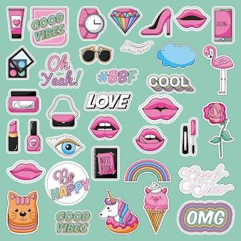 Conjunto de patches moda adolescente linda imagem