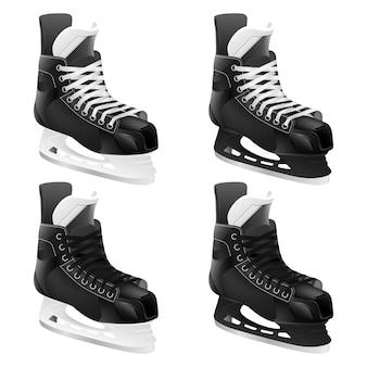 Conjunto de patins de hóquei no gelo.