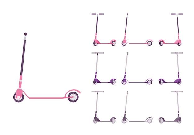 Conjunto de patins em rosa, roxo e preto. equipamento desportivo para veículos de transporte terrestre, movimento e fitness. ilustração em vetor estilo simples dos desenhos animados, isolada no fundo branco, cores diferentes