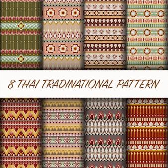 Conjunto de patter de estilo tailandês de vetor
