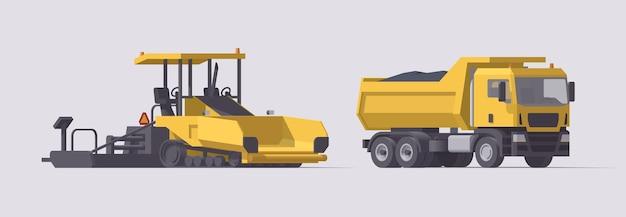 Conjunto de pavimentação asfáltica. pavimentadora de asfalto e caminhão basculante com betume. ilustração. coleção
