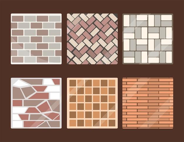 Conjunto de pavimentos e ladrilhos quadrados e retangulares