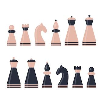 Conjunto de peça de xadrez. rei, rainha, bispo, cavaleiro, torre, peão. rosa e figuras azuis escuras.
