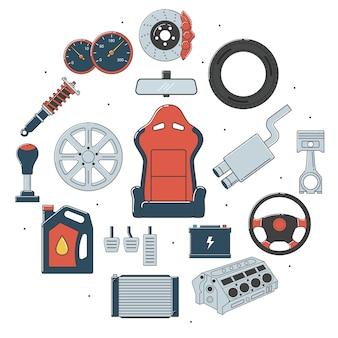 Conjunto de peças de automóveis