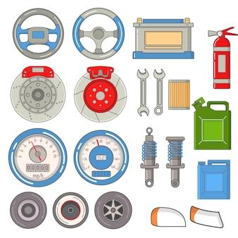 Conjunto de peças de automóvel reparos volante, velocímetro, extintor, faróis, discos de freio, acumulador, chaves.