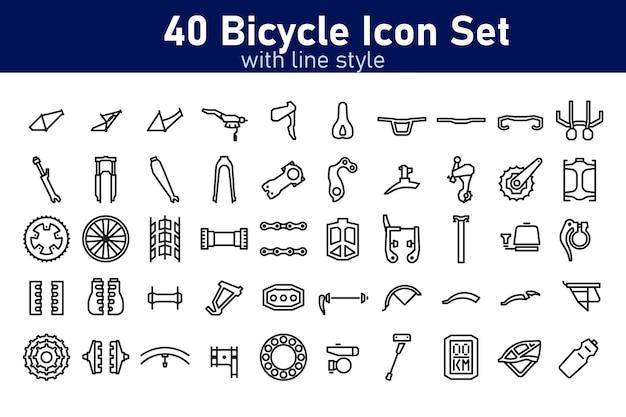 Conjunto de peças de bicicleta com estilo de contorno vector pixel perfect
