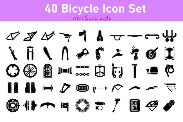 Conjunto de peças de bicicleta com solid style vector pixel perfect
