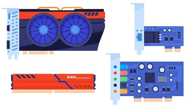 Conjunto de peças de computador. placa de vídeo, ram, placa de som, placa de rede. isolado