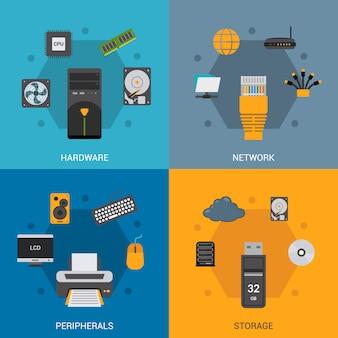 Conjunto de peças de computador