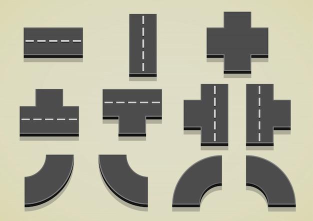 Conjunto de peças de estrada