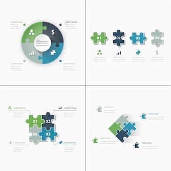 Conjunto de peças de quebra-cabeça jigsaw business infographics concept vector