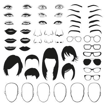 Conjunto de peças de rosto de mulher