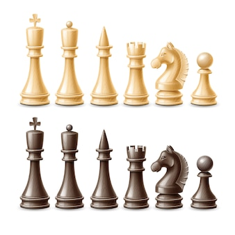 Conjunto de peças de xadrez 3d realista de vetor preto e branco