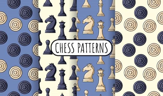 Conjunto de peças de xadrez preto sem costura padrões. coleção de papéis de parede de xadrez. ilustração em vetor plana