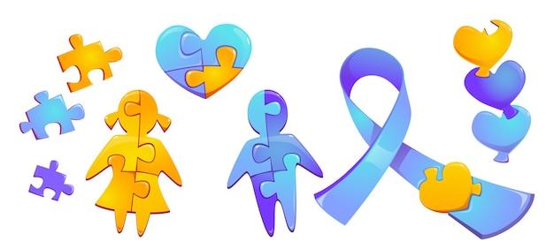 Conjunto de peças do quebra-cabeça colorido da consciência do dia mundial do autismo criança menina e menino silhueta figura do coração e fita azul isolada na parede branca ícones dos símbolos dos desenhos animados da solidariedade internacional