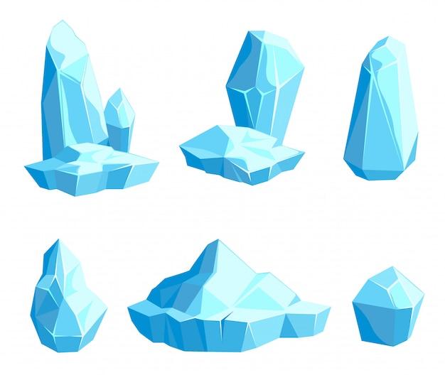 Conjunto de peças e cristais de gelo, icebergs para design e decoração