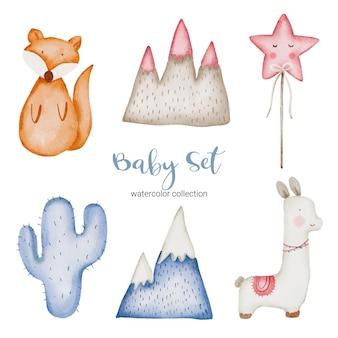 Conjunto de peças separadas e reunidas em lindas roupas, itens para bebês e brinquedos no estilo aquarela, ilustração em aquarela