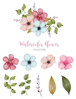 Conjunto de peças separadas e reunidas em um lindo buquê de flores em estilo aquarela