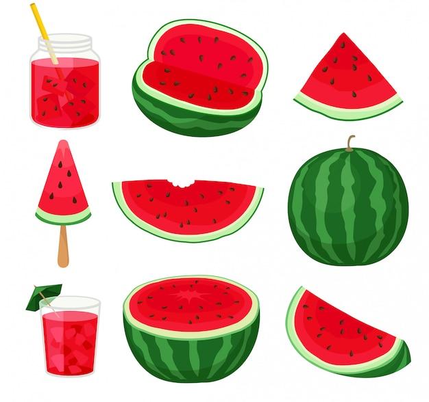 Conjunto de pedaços de melancia em diferentes formas e produtos derivados.