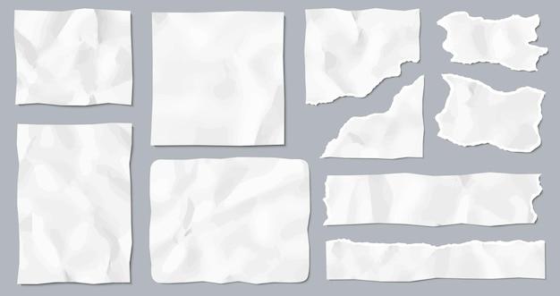 Conjunto de pedaços de papel amassado