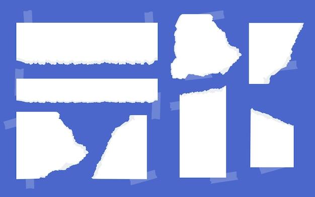 Conjunto de pedaços de papel rasgado branco com fita adesiva de diferentes formas para papel rasgado para lembretes de notas ou mensagens modelo vazio pedaço de folha rasgada para ilustração vetorial de papel de memorando de texto