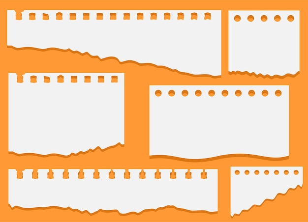 Conjunto de pedaços de papel rasgado de caderno branco