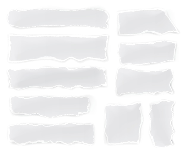 Conjunto de pedaços de papel rasgado no fundo branco