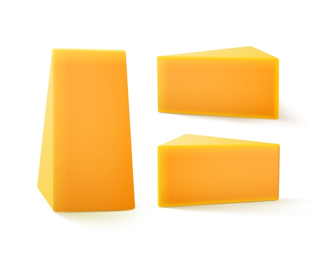 Conjunto de pedaços triangulares de queijo cheddar fechar isolado no fundo branco