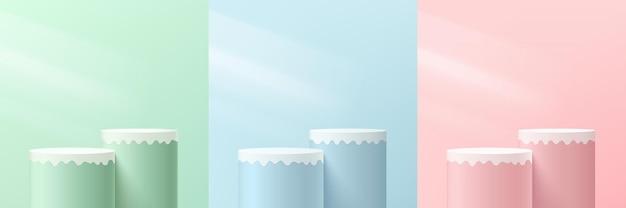 Conjunto de pedestal de cilindro 3d abstrato rosa verde azul e branco ou pódio de suporte com iluminação
