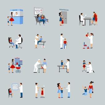 Conjunto de pediatra de médico de crianças
