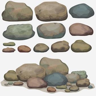Conjunto de pedra rocha de diferentes pedregulhos