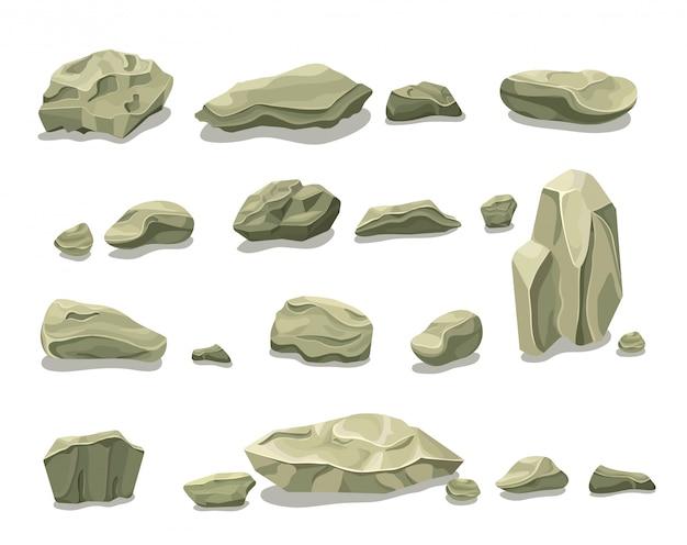 Conjunto de pedras cinzentas coloridas de desenho animado